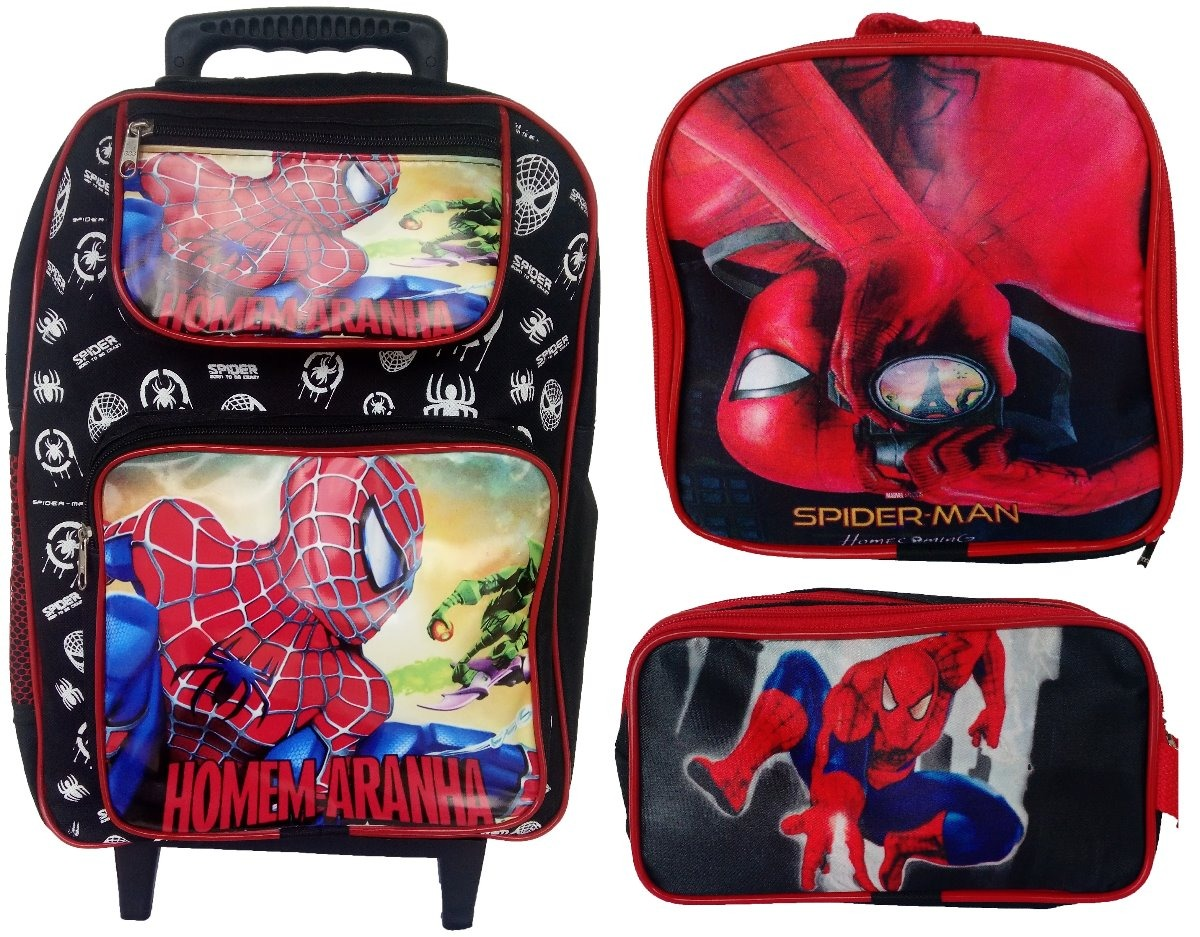 53b7a1e44 kit escola homem aranha mochila rodinha + lancheira + estojo. Carregando  zoom.