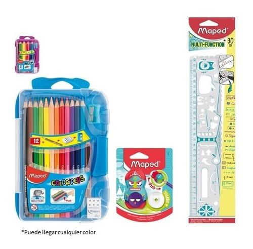 kit escolar 1 colores, tajalapiz y regla