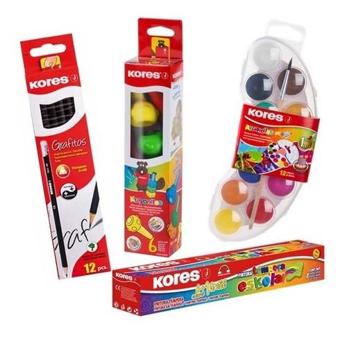 kit escolar 12 lapices, acuarelas, tempera y krayonitos