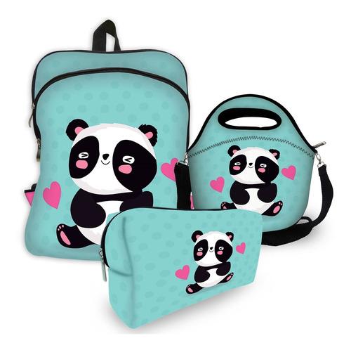 kit escolar com mochila + lancheira + estojo - isoprene