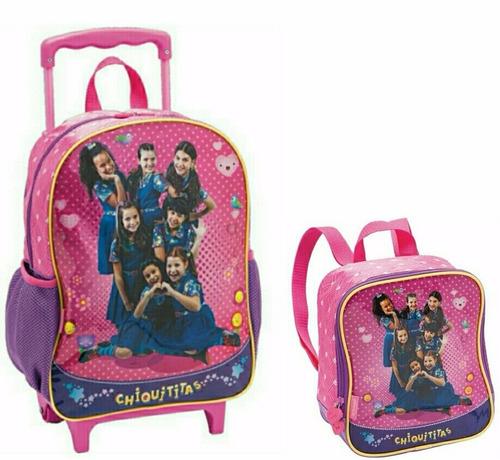 kit escolar feminino mochila e lancheira térmica chiquititas