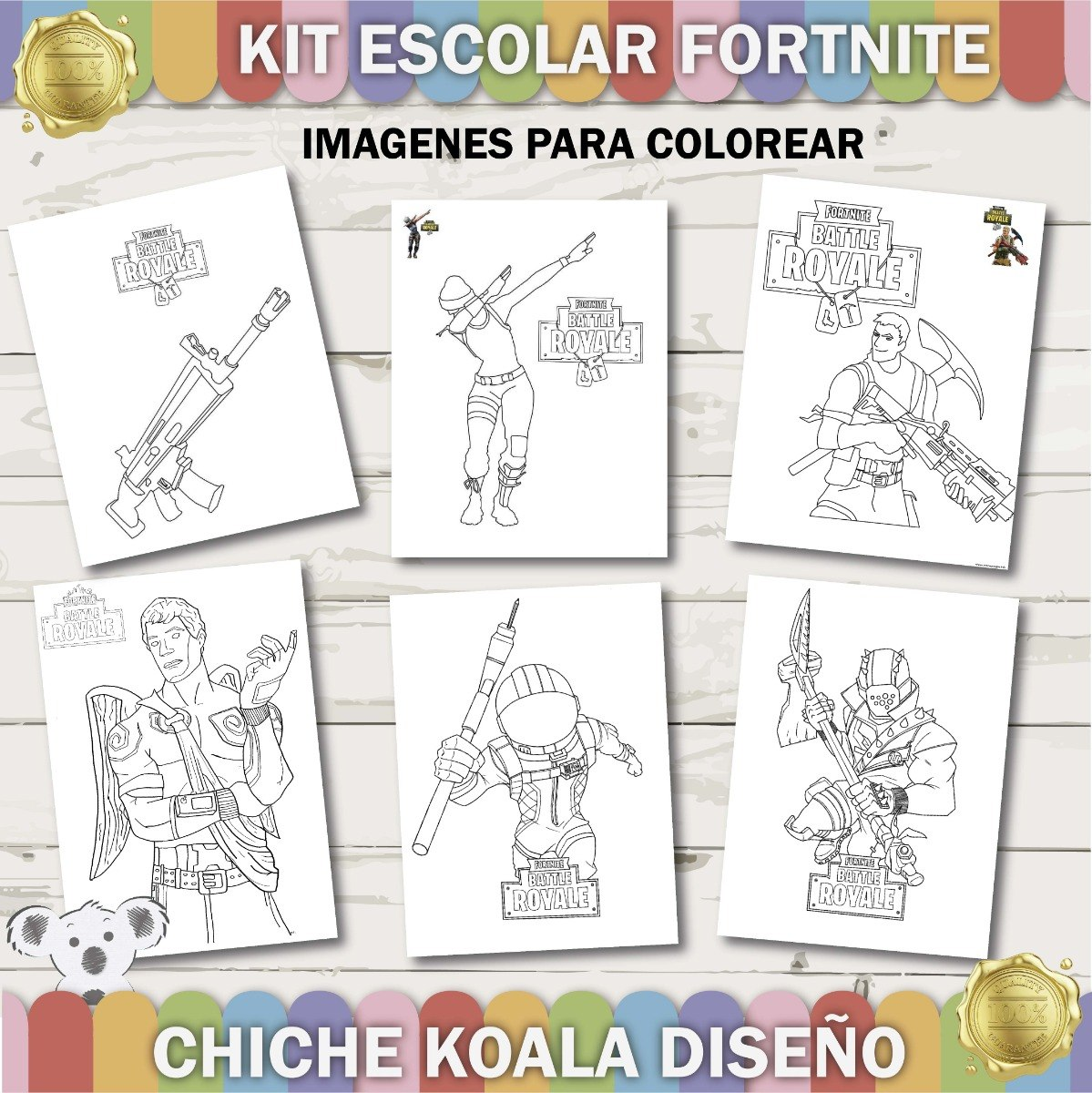 Kit Escolar Fortnite Battle Royale Etiquetas Asignaturas