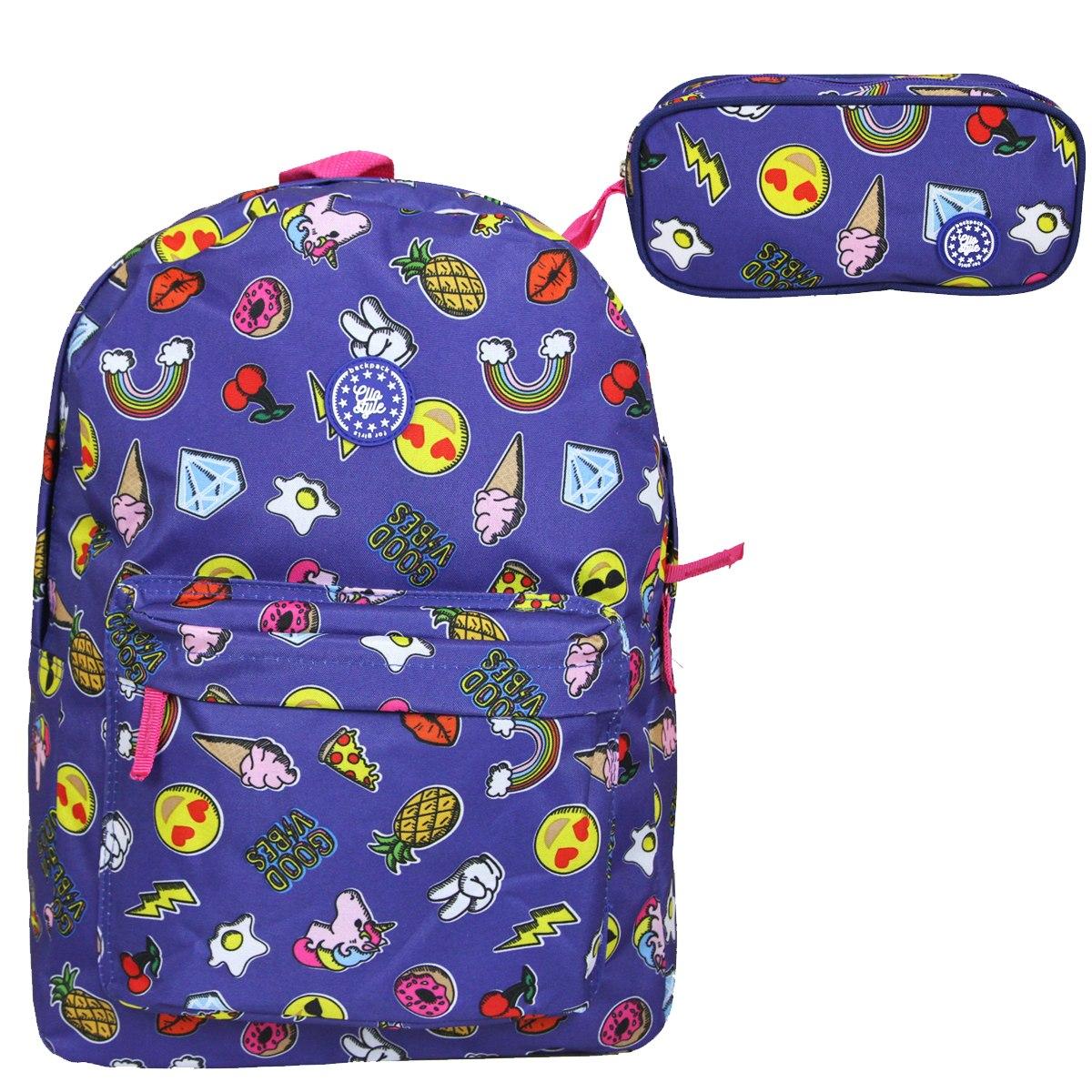 cbdd505e2 kit escolar juvenil emoji whatsapp mochila estojo duplo. Carregando zoom.