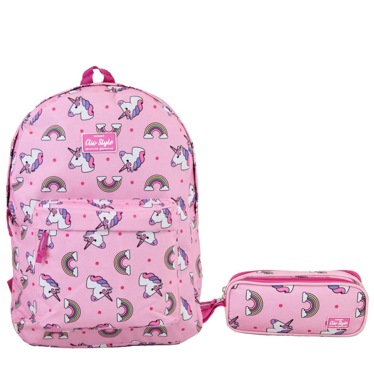 a11f9d101 kit escolar juvenil impermeável unicórnio mochila estojo. Carregando zoom.