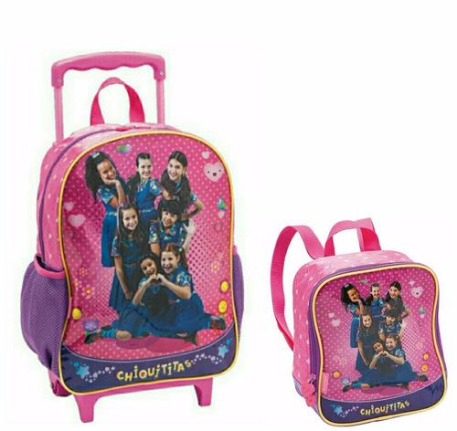 kit escolar mochila lancheira térmica chiquititas pacific