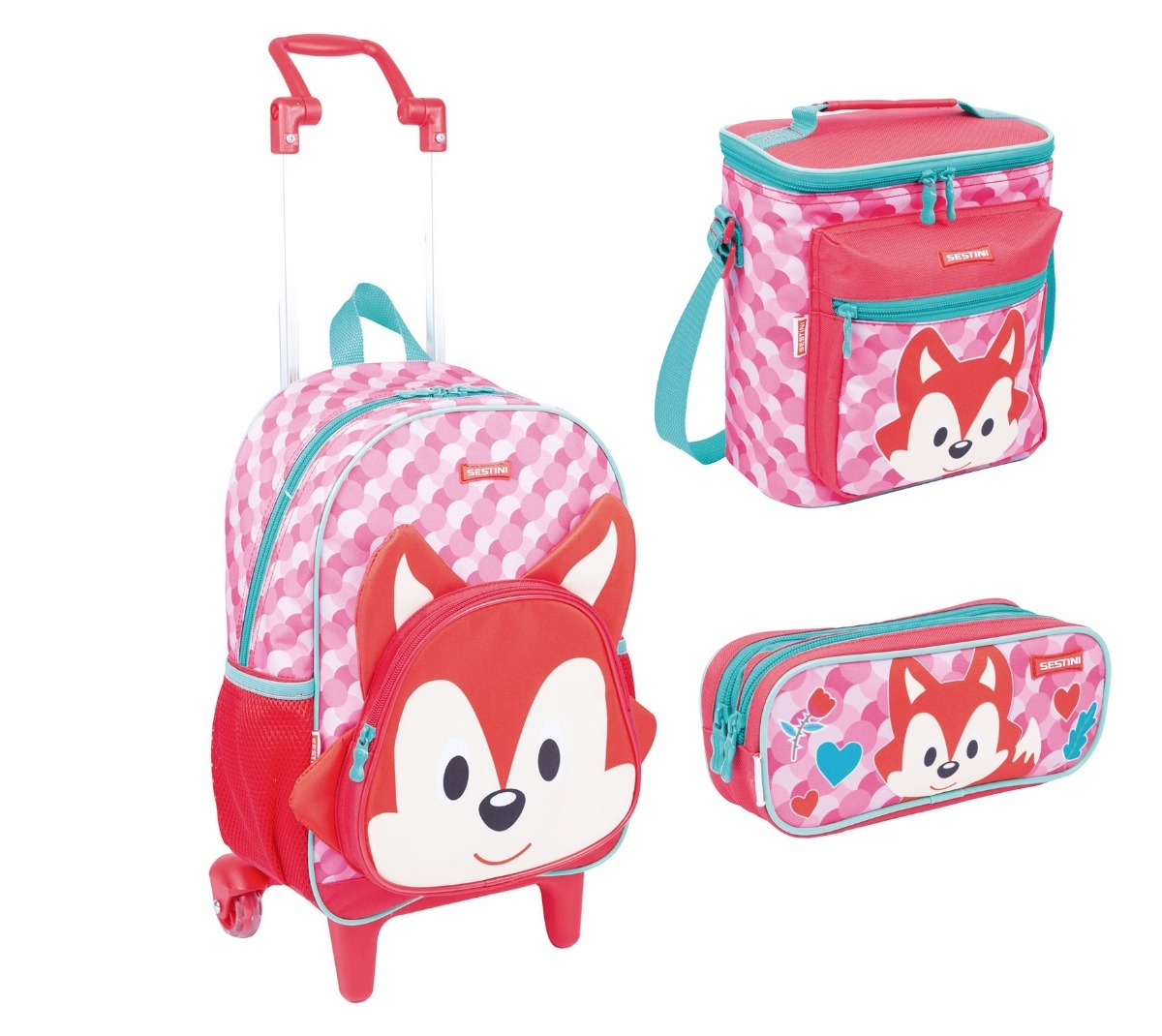 087a077b37 kit escolar mochila mochilete kids fox 19y - sestini. Carregando zoom.