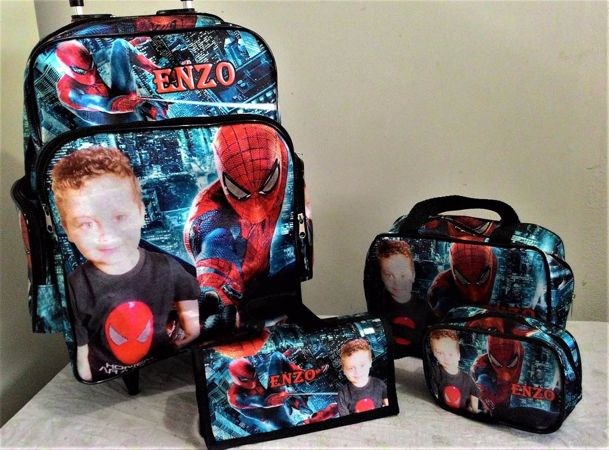 2932a7d28 kit escolar mochila personalizada foto personagem p carrinho. Carregando  zoom.
