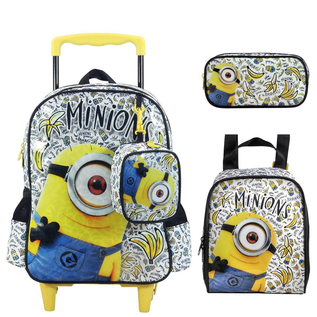8e66feca64 kit escolar mochila rodas lancheira estojo minions bananas. Carregando zoom.