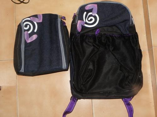 kit escolar morado incluye un morral y lonchera.(bolso)