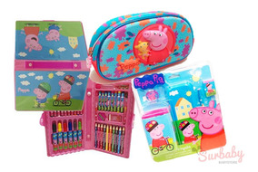 Kit Escolar Peppa Pig Utiles Cartuchera Y Set De Arte