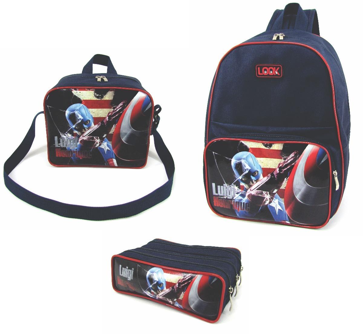 2ce8d0484 kit escolar personalizado mochila + lancheira + estojo. Carregando zoom.