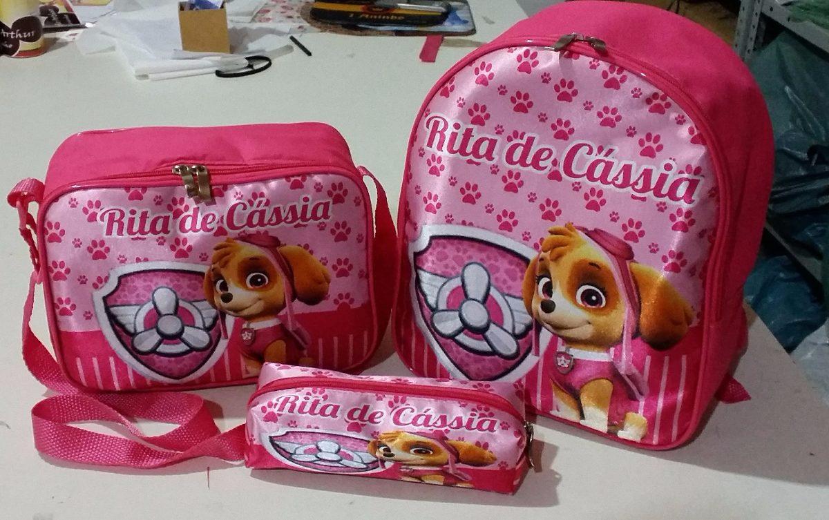 a81e2ef47 kit escolar personalizado mochila+lancheira térmica+estojo. Carregando zoom.