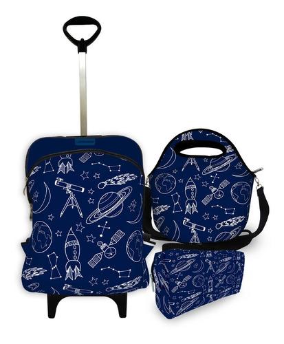 kit escolar plus com mochila plus + lancheira + estojo