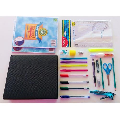 kit escolar set económico útiles secundario 25 artículos