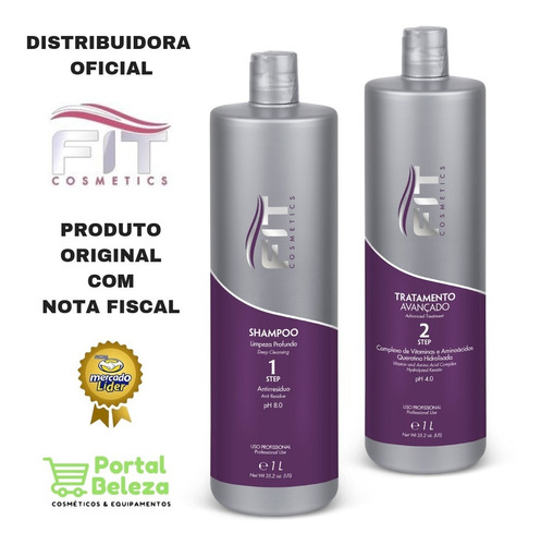 kit escova progressiva fit cosmetics 2x1 litro liso perfeito