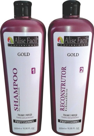 kit escova progressiva gold s/formol ácido glioxílico 500ml