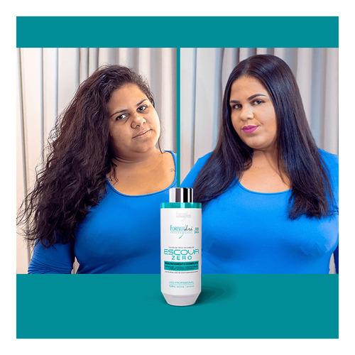 kit escova progressiva zero e 2 shampoo detox forever liss