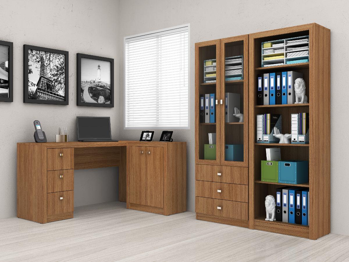 Kit escrit rio com mesa 2 estantes prateleira tecno mobili r em mercado livre - Escritorio pared ...