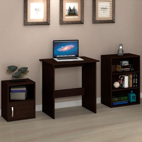 kit escritorio mesa de pc + estanterías blanco/tabaco