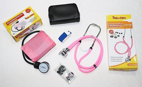 kit esfigmomanômetro e estetoscópio rappaport rosa + garrote
