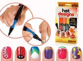 kit esmalte lapiz doble punta 6 colores hot desings decorado