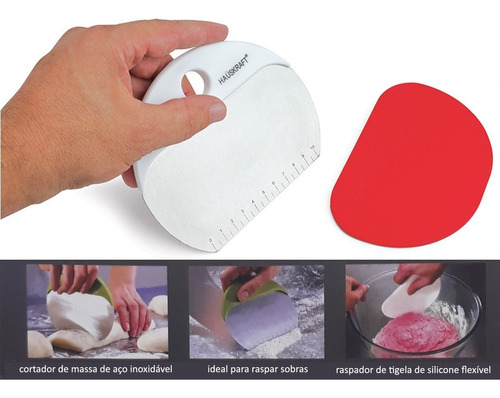 kit espátula para massa aço inox e silicone pasta fresca pão