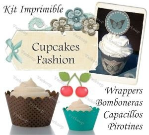 kit especial cupcakes fashion diseños imprimibles exclusivo