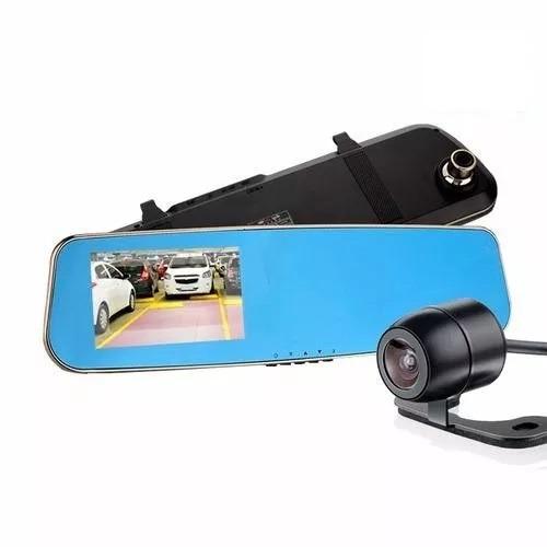kit espelho retrovisor c/ 2 câmeras monitor tela lcd 4.3