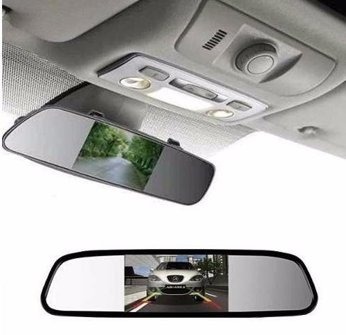 kit espelho retrovisor monitor  câmera ré + sensor de ré