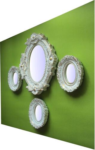 kit espelhos decorativos de  parede (04 peças)