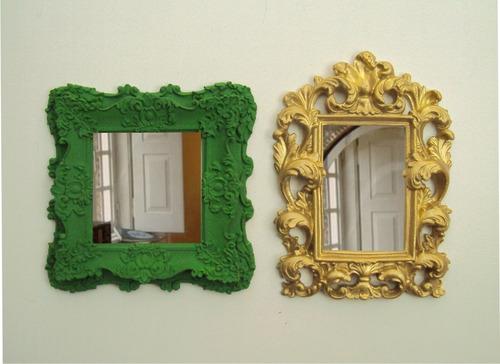 kit espelhos médios coloridos para decoração (02 peças).
