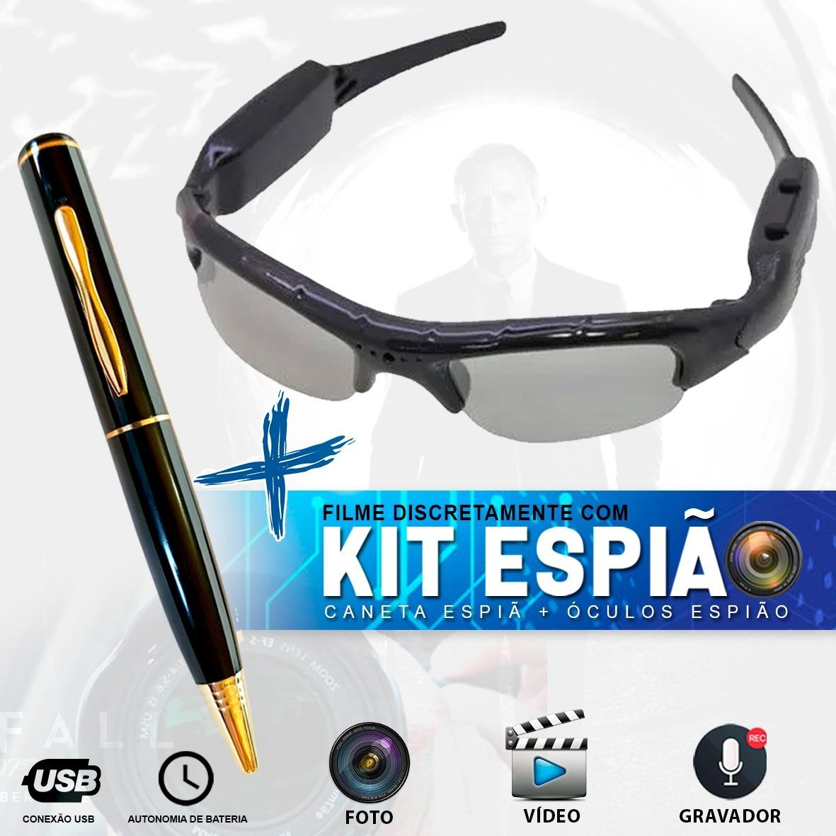 fa0f64635d2b2 kit espião caneta espiã c  8gb + òculos espião hd camera. Carregando zoom.