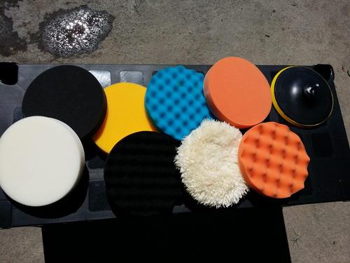 kit esponjas 6pulgadas pulir y encerar auto taladro pulidora