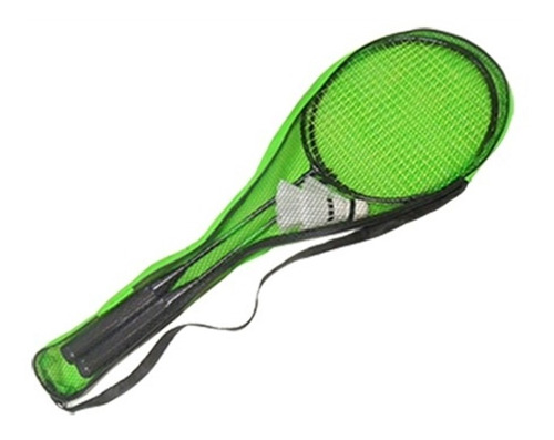 kit esporte badminton com 2 raquetes 2 petecas e bolsa