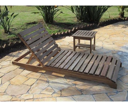 kit espreguiçadeira em madeira paris + 01 mesa lateral 45x45