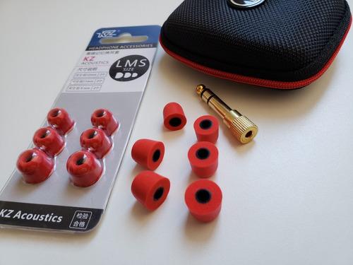 kit espuma de memoria ( p, m, g) + estojo + adaptador p2 p10