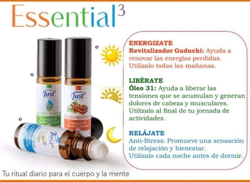 kit essential 3 swiss just oleo 31 + guduchi + antistres
