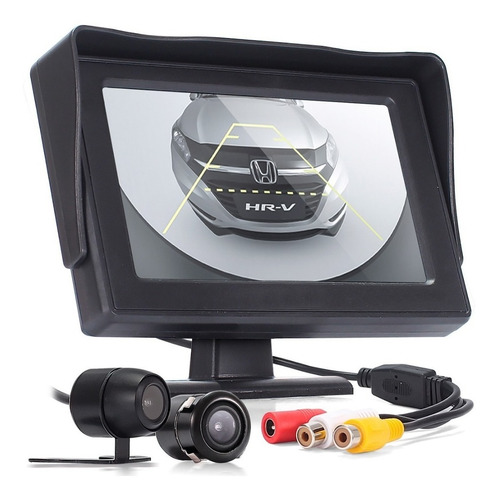 kit estacionamento câmera ré tela automotiva monitor 4.3 rca