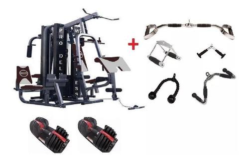 kit estação de musculação completa wct fitness 204kg a vista