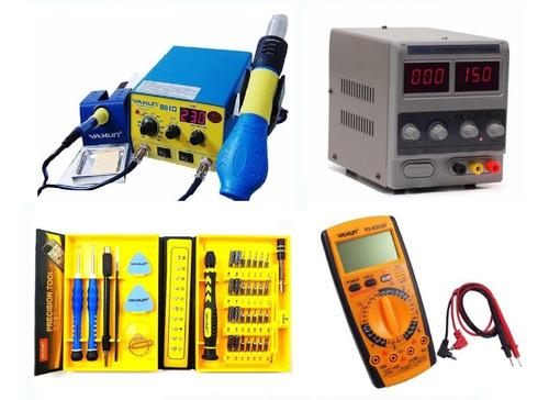 kit estação yaxun 881d +1502dd + multimetro 9205a + kit 6028