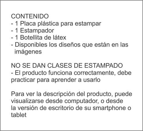 kit estampador uñas (placa + sello + raspador + latex)