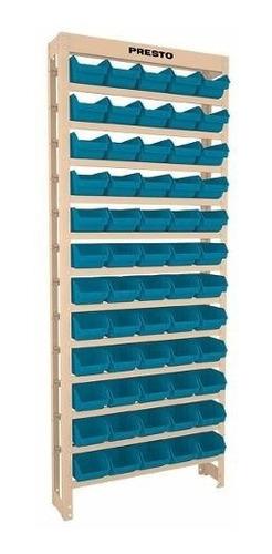 kit estante gaveteiro organizador 60/3 box caixa azul presto