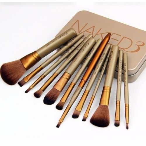 kit estojo 12 pincéis maquiagem profissional naked 3