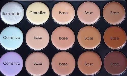 kit estojo maquiagem paleta base corretivo jasmyne. 15 cores