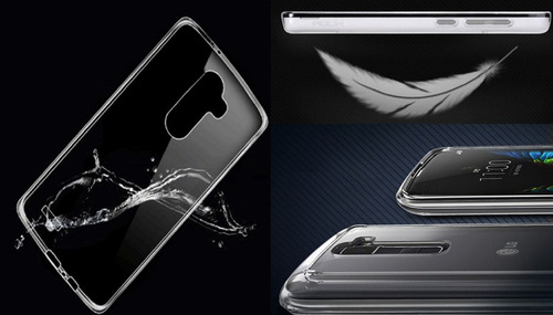 kit estuche lg k10 silicona ultra delgada + vidrio templado