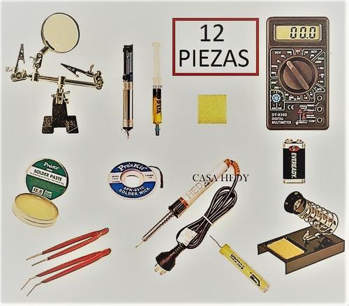 kit estudiantil 12 piezas soldador lupa brusela estaño pasta
