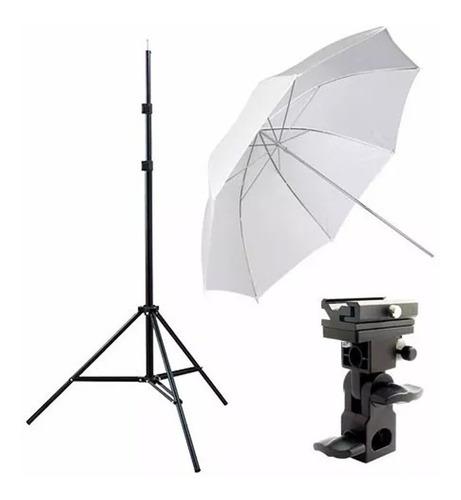 kit estúdio 2 sombrinhas + 2 tripés 2m + 2 suporte p/ flash