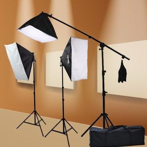 kit estudio fotográfico softbox con boom stand fotografía