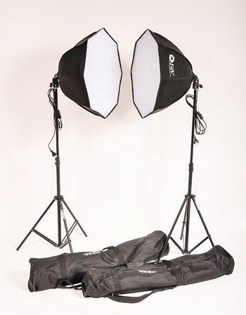 kit estúdio fotográfico softbox light lâmpada tripé+ bag 110