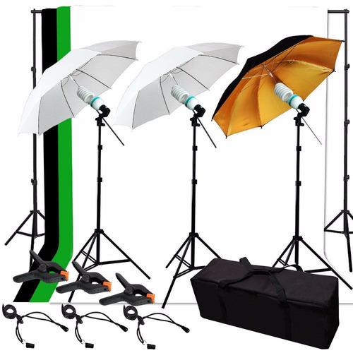 kit estudio fotográfico sombrilla fotografía maleta